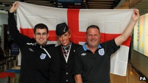 England fans pose with BA&#039;s Marie Ailsby 