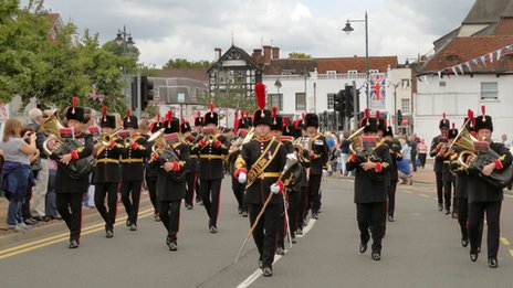 The Royal Artillery Band led the parade through Epsom