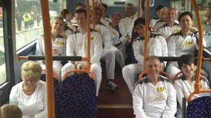 Torchbearers on the bus