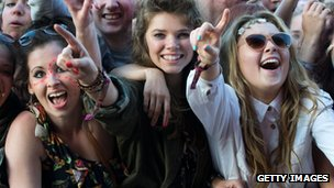 Festival-goers enjoy the main stage on day two of The Isle of Wight Festival