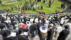 Racegoers watch horses in the parade ring during day two of the 2012 Royal Ascot meeting