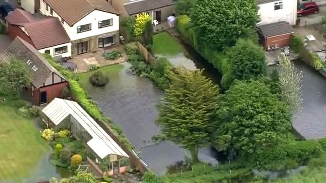 Aerial views of flooding in Yorkshire