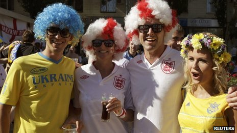 England and Ukraine fans