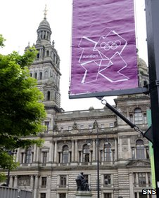 Glasgow has Olympic flags on display ahead of the London 2012 games