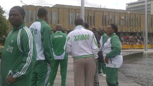 Nigerian boxing team waiting for the flame