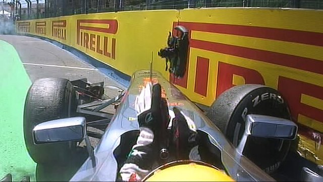 Lewis Hamilton crashes out of European Grand Prix