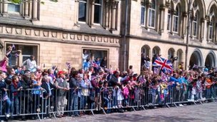 The crowds watching the relay in Bradford