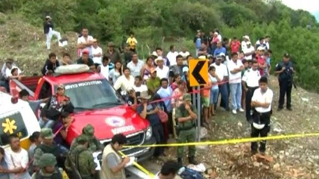 Scene of bus crash in Mexico