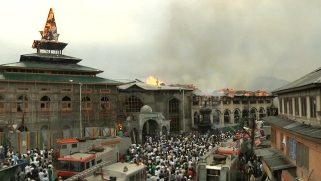 Fire at the  Peer Dastageer Sahib shrine in Srinagar
