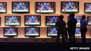 Sony TVs on display