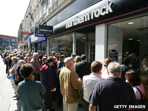 Customers of Northern Rock queue outside the Kingston branch in order to take their money out of their accounts on 15 September 2007