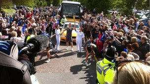 The streets of Morley were packed for the torch