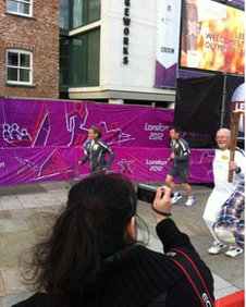 Mike Healey with the torch in Leeds