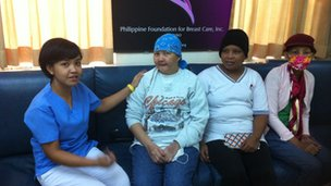 Nursing volunteer Angeline Veraga with her cancer patients