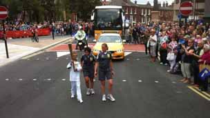 Harry Crowther with the torch in Wakefield