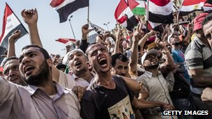 Egyptians celebrating the election result on the streets of Cairo
