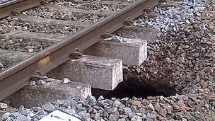 Hole at Colwall, image by Network Rail