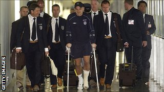 Danny Murphy returns home from the 2002 World Cup