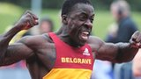 Dwain Chambers celebrates his Trials victory