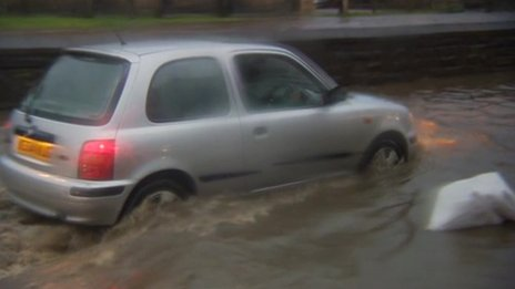 Car driving through flood water
