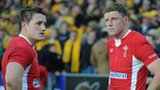 Jonathan Davies and Rhys Priestland after Wales suffered a third defeat to Australia in Sydney