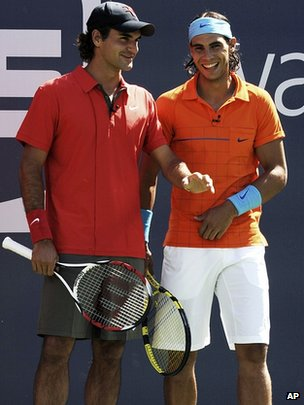 Roger Federer, left, of Switzerland and Rafael Nadal of Spain, 2008