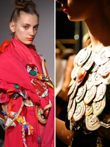 Wrap dress embellished with rubbish and found objects, photographed by Ian Gillett, left; and right a top embossed with cola can bases, photographed by Lydia Goldblatt