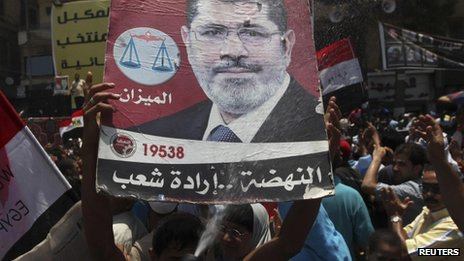 "Supporters of Muslim Brotherhood""s President-elect Mohamed Mursi hold a poster with his image"