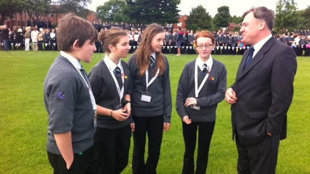 Ed Balls with School Reporters at Morley Academy