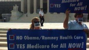 Protesters outside the US Supreme Court, Washington DC 25 June 2012