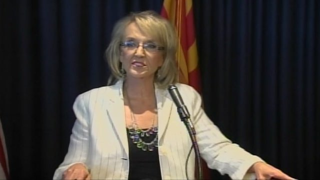 Jan Brewer at a press conference 25 June 2012
