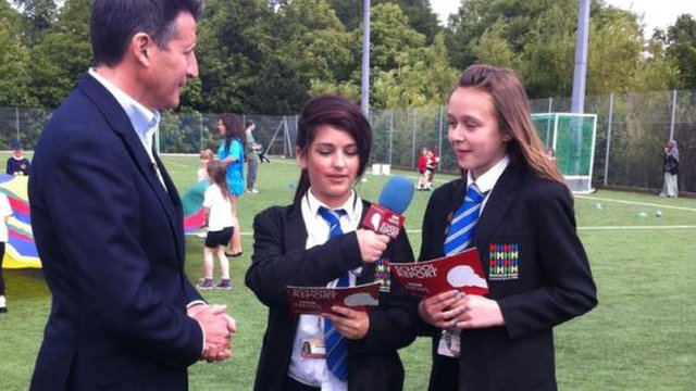 Lord Coe tales to School Reporters Isabelle and Amanda