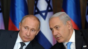 Vladimir Putin(L) and Benjamin Netanyahu, 25 June