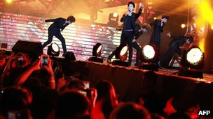 Korean pop band MBLAQ perform at a K-pop concert in Hong Kong, 23 June 2012