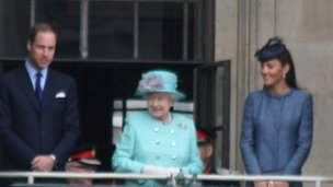 The Queen with the Duke and Duchess of Cambridge