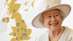 The Queen with a map of the UK