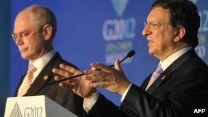 Europgroup's Herman Van Rompuy and Jose Manuel Barroso from the European Commission