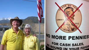 Jim Turner at KOA campsite in Estes Park, Colorado (l) and the 'No pennies' sign at Shell Lumber in Miami (r)