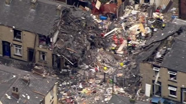 Aerial view of scene of explosion in Oldham