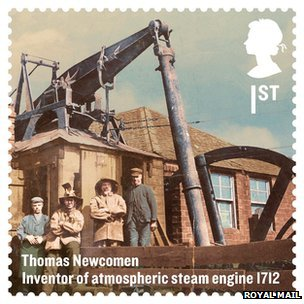 Commemorative stamp of Thomas Newcomen's engine (Image courtesy of Royal Mail)