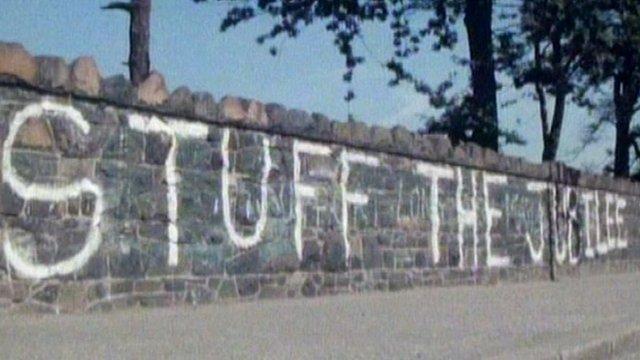'Stuff the Jubilee' sign written on wall in Northern Ireland