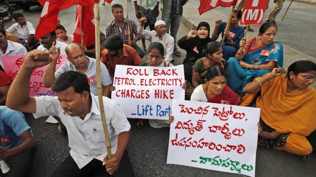 Inflation is an increasing problem in India. Activists of left parties shout slogans during a recent nationwide strike to protest a steep hike in gas prices in Hyderabad