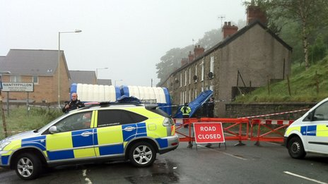 Police at the scene of the murder investigation in Maesteg
