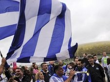 Greece football fans