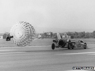 The jet-propelled car 'Thrust 2' driven by Richard Noble, breaking the British land speed record at RAF Greenham Common airbase in Berkshire, 1980
