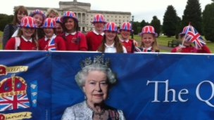 Pupils from Derryhale Primary School in Portadown at Stormont for the Jubilee celebrations