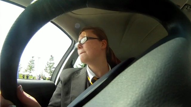 Schoolgirl learning to drive