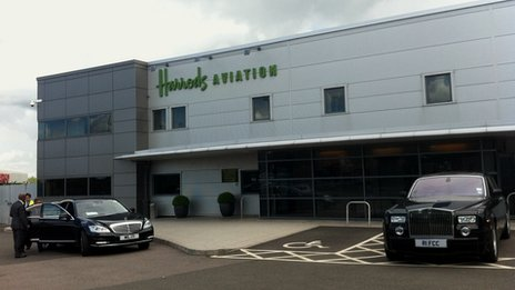 Harrods Aviation terminal at Luton airport