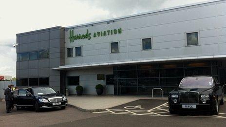 Harrods Aviation terminal at Luton airport