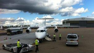 Dornier jet parked outside Harrods Aviation at Luton airport